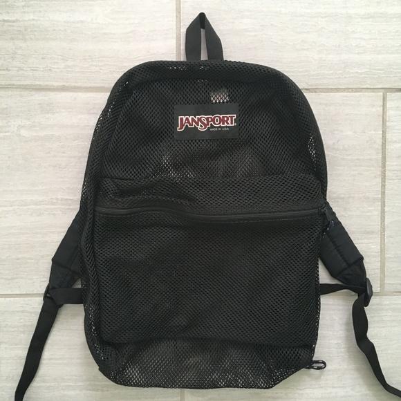 6276bb38b1f5 Jansport Black Mesh Backpack. M 5c1a756ac89e1d78f81b7472